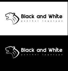 black and white panther vector image vector image