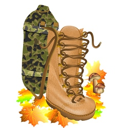 Boot traveling on autumn leves vector