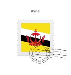 Brunei flag postage stamp vector