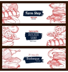 Butchery shop meat sausages banners sketch set vector