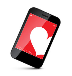 cell phone with white heart on red screen vector image vector image