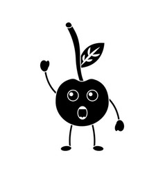 Cherry yelling talking fruit kawaii icon image vector