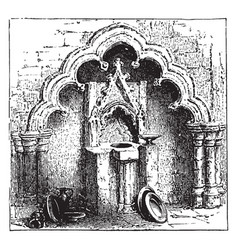 Decorated arch and piscina vintage engraving vector