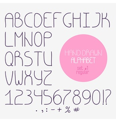 Decorative doodle alphabet regular font vector