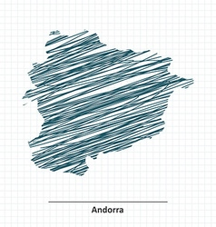 Doodle sketch of andorra map vector