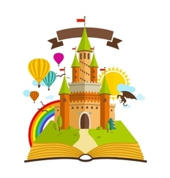 Fairy Tale castle with Book vector image vector image