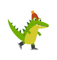 Funny cartoon crocodile character skating wearing vector