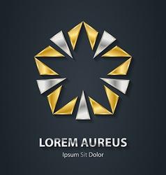 Gold and silver star logo Award 3d icon Metallic vector image
