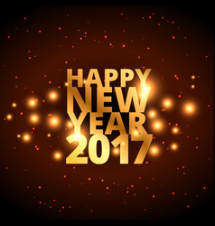 Golden happy new year wishes for 2017 with golden vector