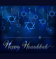 happy hanukkah card template with blue star symbol vector image vector image