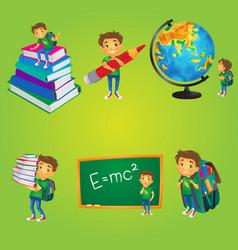 kid boy schoolboy doing school activities vector image