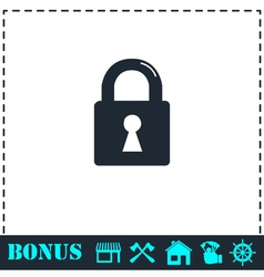 Lock icon flat vector