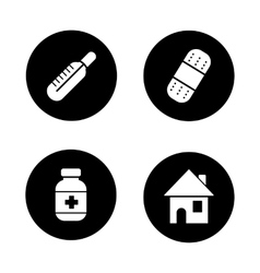 Medicine chest items black icons set vector image vector image