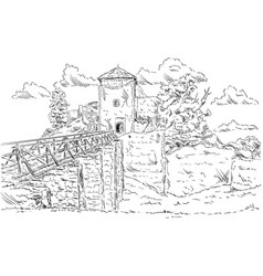 Old ruins castle vector
