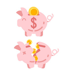 piggy bank with golden vector image vector image