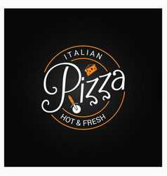 pizza logo badge design background vector image vector image