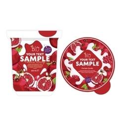 Pomegranate yogurt packaging design template vector