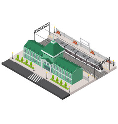 Railway station platform and train isometric vector