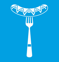 Sausage on a fork icon white vector