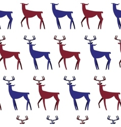 Seamless Pattern with deers Christmas background vector image