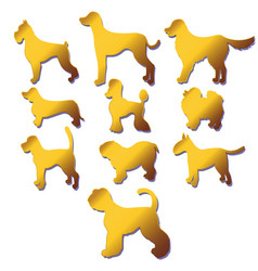 Set of silhouettes cartoon gold dog different vector