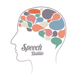 Set of speech bubble thoughts in head vector