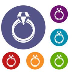 Single diamond ring icons set vector