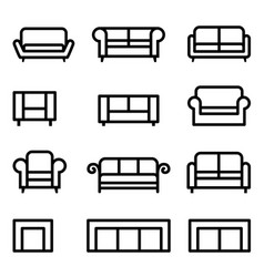 sofa icon set vector image vector image