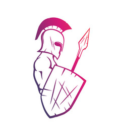 Spartan with spear and shield warrior in helmet vector