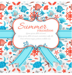summer vacation sticker on seamless pattern vector image