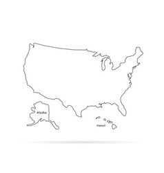 thin line usa map with other territories and vector image