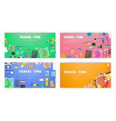 Travel time set of banners on travel vacation vector