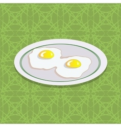 Two Fried Eggs on White Plate vector image