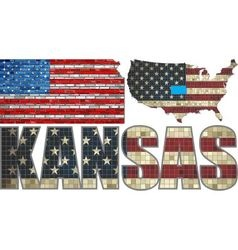 USA state of Kansas on a brick wall vector image vector image