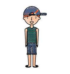 Young boy with summer fashion vector