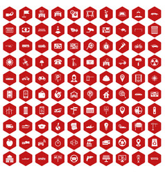 100 car icons hexagon red vector