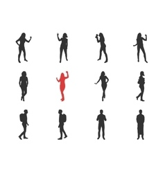 People male female silhouettes in different vector