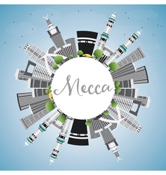 Mecca skyline with landmarks blue sky vector