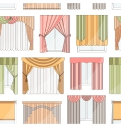 Different curtains and blinds for interior design vector