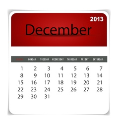 2013 calendar December vector image