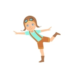 Little boy in vintage pilot leather outfit vector