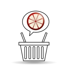 Basket market grapefruit icon design vector