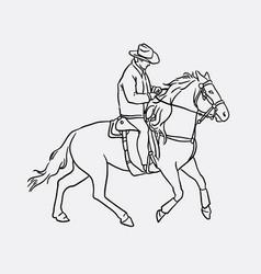 cowboy riding horse sketches vector image