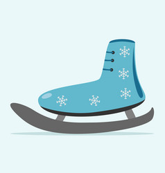 Ice skate with snowflakes vector
