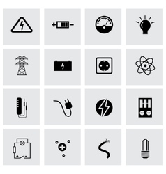 black electricity icons set vector image