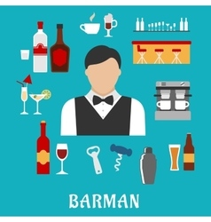 Barman and bartender flat icons vector
