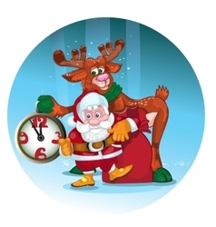 Cheerful santa with the deer give gifts vector