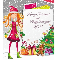 Christmas fashion girl 1 vector