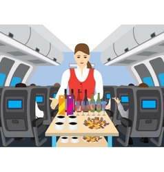 Stewardess in salon of the plane vector