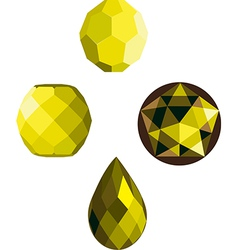 Yellow crystal faceted beads vector
